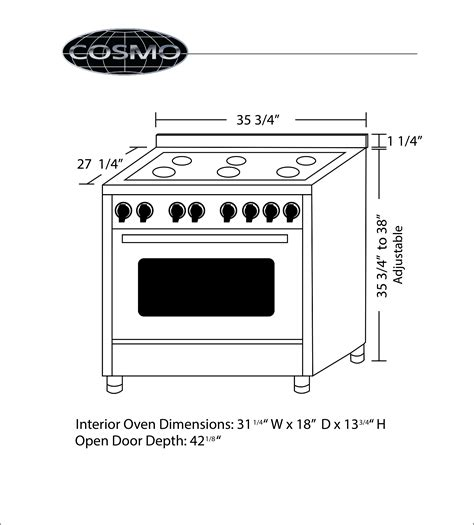 kitchen appliance dimensions product manuals cosmo kitchen products