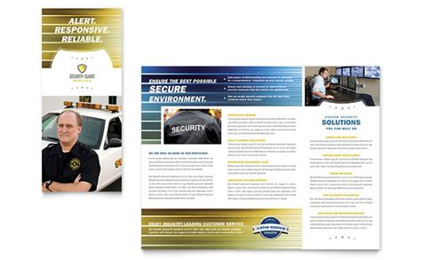 security company brochure template security guard tri fold brochure template design