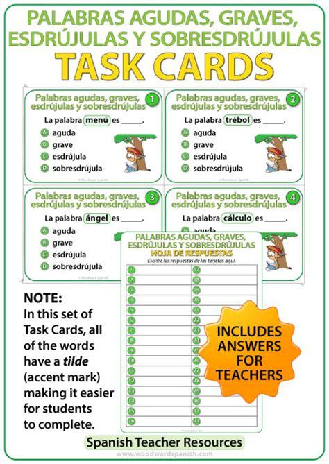 palabras agudas graves y esdrjulas youtube spanish task cards palabras agudas graves esdr 250 julas y