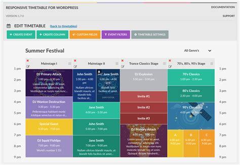 design html timetable responsive timetable for wordpress by rikdevos codecanyon