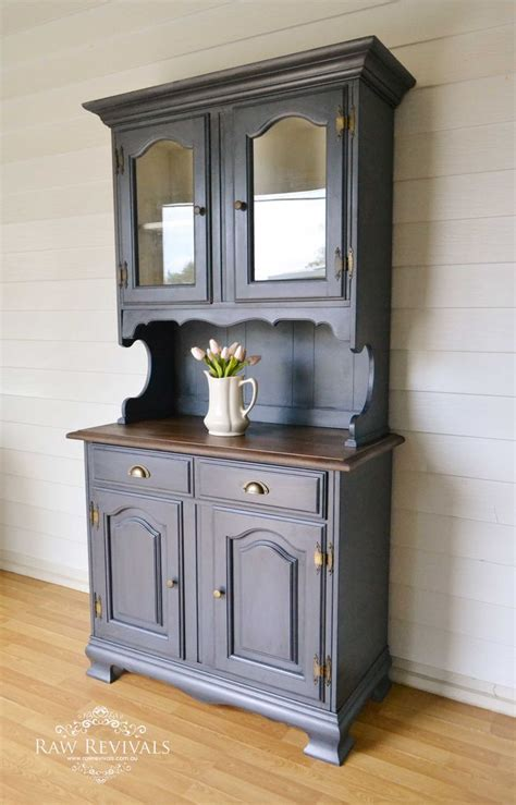 My Hutch Antique Glazed Charcoal Buffet And Hutch