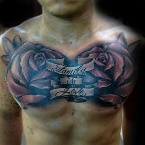 family chest tattoo 60 banner tattoos for waving word ink design ideas