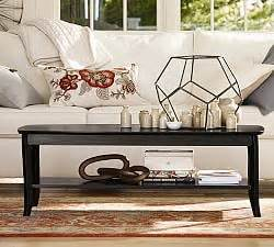 tanner saw bench tanner rectangular coffee table bronze finish pottery barn