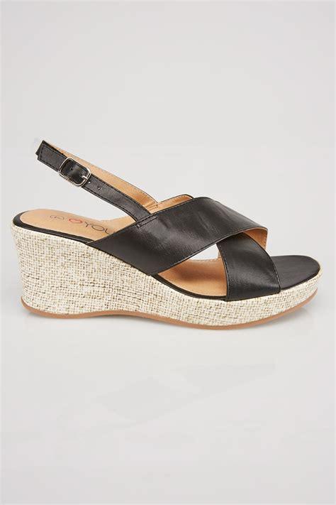 black comfort wedges black comfort insole cross over wedge sandal in eee fit