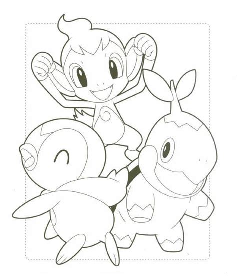 pokemon coloring pages turtwig chimchar turtwig and piplup by cutepokemontrianer on