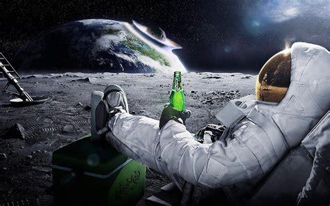 space astronaut meteors earth beer carlsberg