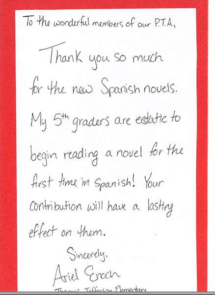 thank you letter after daycare falls church city elementary pta thank you notes