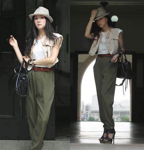 Becky Korean Bag becky baek fedora vest beige baggy khaki