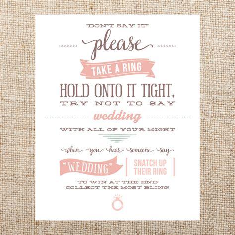 Printable Bridal Shower Ring Game | printable bridal shower ring game sign don t say it by