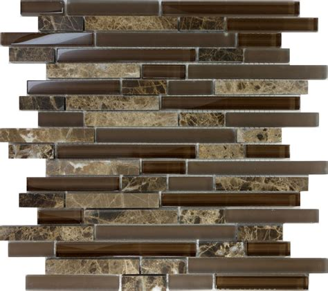 Stick On Backsplash Tiles by Sample Brown Glass Natural Stone Linear Mosaic Tile Wall