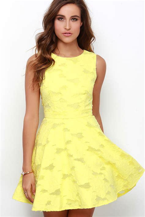 cute yellow dress skater dress jacquard dress