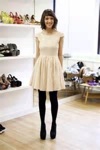 cream dress and black tights fashion pinterest