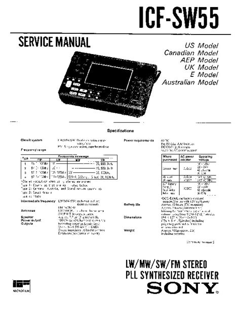 Sony Icf Sw55 Service Manual Free Download