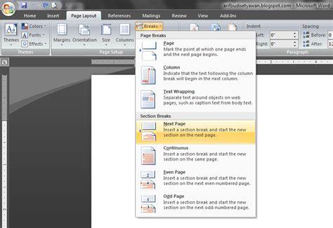 cara membuat halaman pada word landscape microsoft word cara menyisipkan lembar landscape pada
