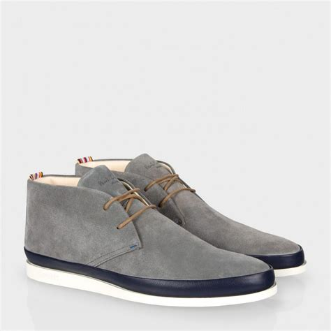 paul smith grey suede loomis chukka boots with navy