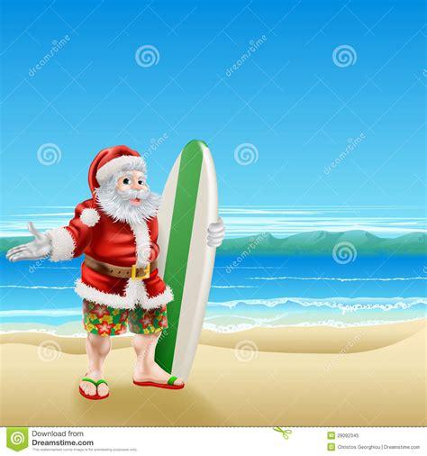 surf santa on the beach stock image image of summerwear