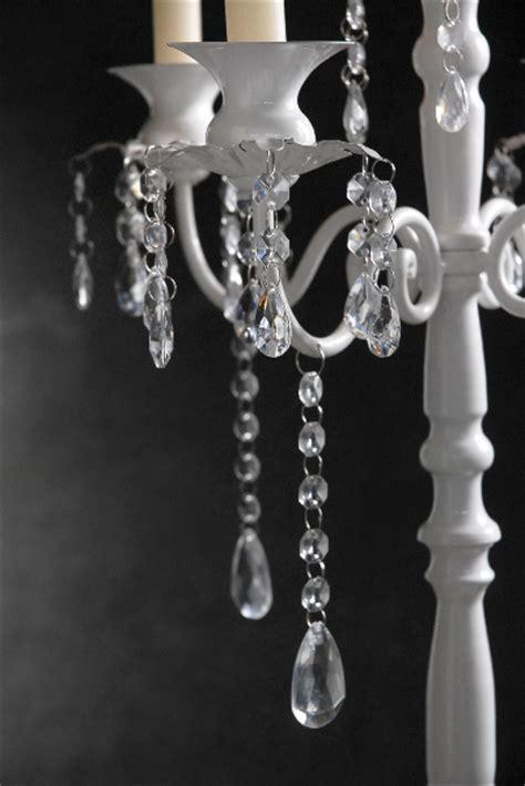 Crystal Candelabra on White Pedestal 32in