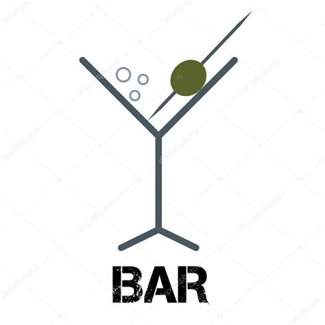 cocktail logo cocktail bar logo linear style glass with olive
