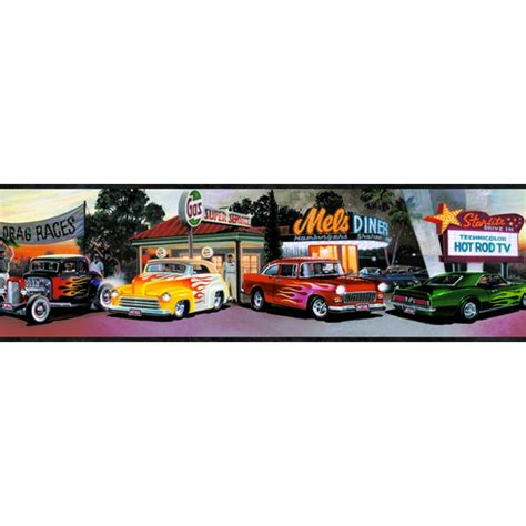 Antique Car Wallpaper Borders by Fg50142b Four Decades Of Rods Border Discount Wallcovering