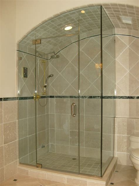 Majestic Shower Doors Majestic Series Frameless Arced Shower Door Enclosures By Glasscrafters Inc Modern Bathroom