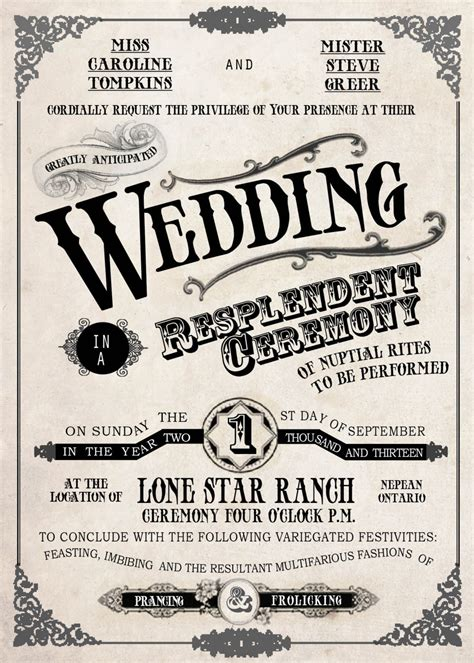 French Country Wedding Invitations - country fair vintage wedding invitation old fashioned retro western antique fonts