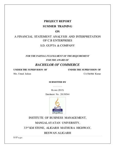 Mba Project Report On Financial Statement Analysis Pdf by Project Report On Financial Statement Analysis And