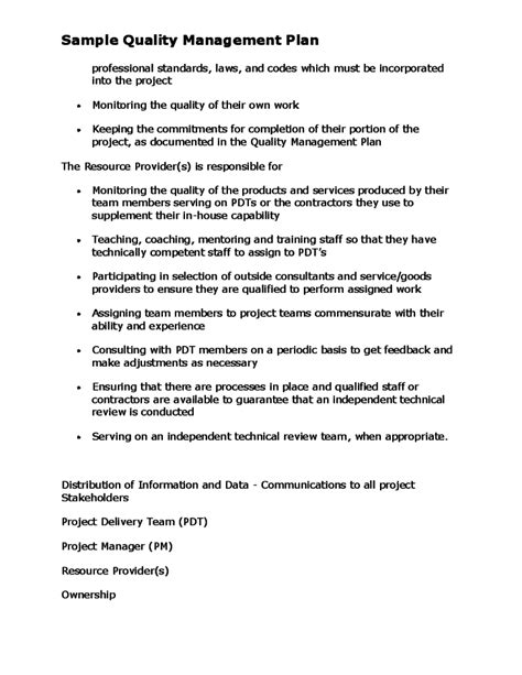 quality management plan template sle of project quality plan pictures to pin on