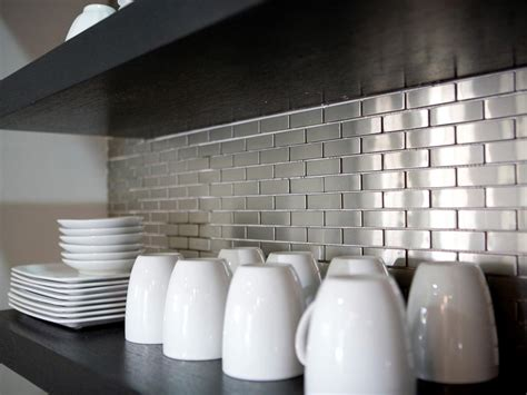 kitchen backsplash stainless steel tiles stainless steel backsplashes pictures ideas from hgtv