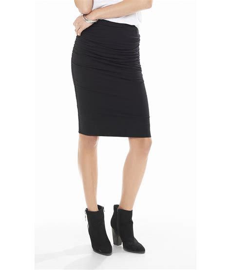 stretch knit pencil skirt express stretch knit ruched pencil skirt in black pitch