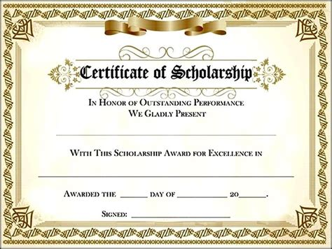 scholarship award template pin scholarship award certificate sle on