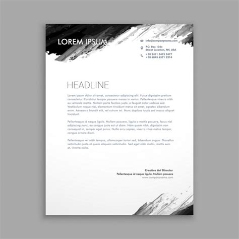 black ink letterhead vector