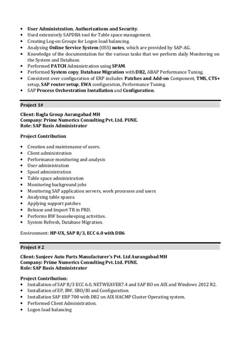 sle resume for sap abap 1 year of experience 100 letter of resume sle fixed equipment