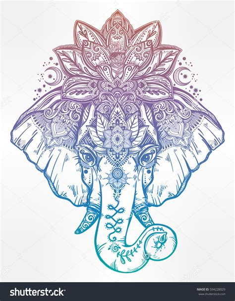 www mandala vintage style vector elephant with with ornate lotus