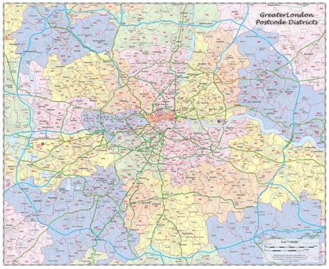map of greater area uk j greater postcode map map graphics