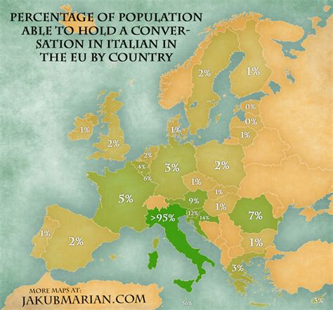 countries that speak in europe percentage of eu population able to hold a conversation in