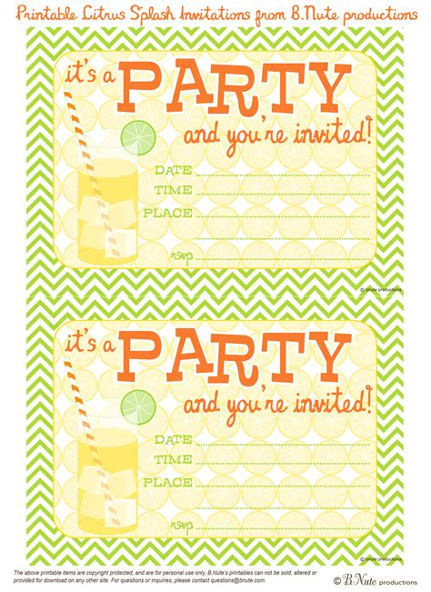 free printable invitations birthday bnute productions free printable citrus splash invitations