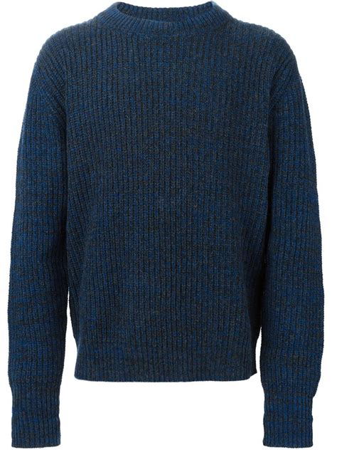 ribbed sweater etudes studio ribbed sweater in blue for lyst