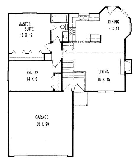 Nice 2 Bedroom Ranch Style House Plans #3: Small-Minimalist-Two-Bedroom-House-Plans-With-Large-Garage.jpg