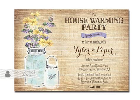 Mason Jar Housewarming Invitation Rustic Wood Watercolor Housewarming Invitation Template