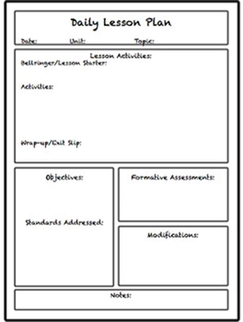 Lesson Unit Plan Templates For Middle Or High School Tpt Middle School Lesson Plan Template