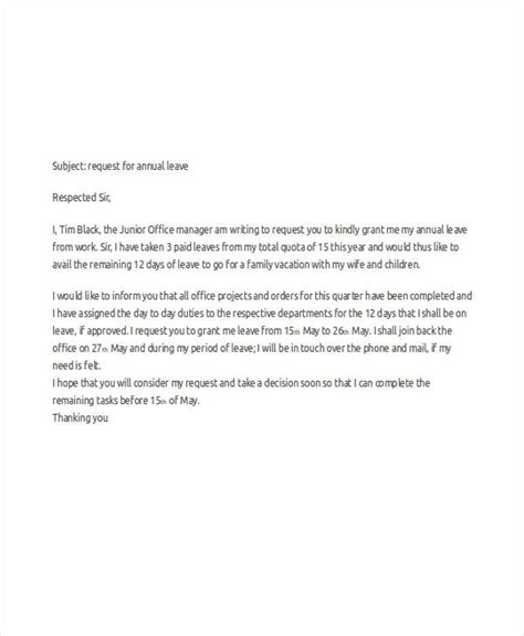 business letter vacation leave 49 request letter sles free premium templates