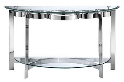 glass and chrome sofa table curvy chrome glass sofa table at gardner white
