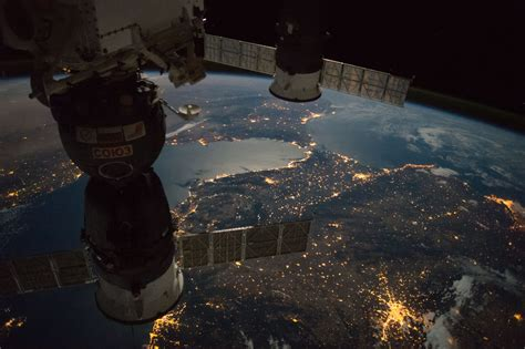 nasa space pictures nighttime view of the strait of gibraltar nasa