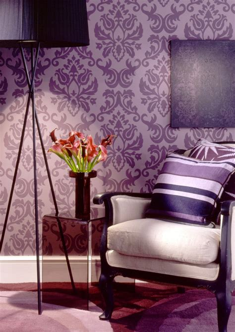 purple living room wallpaper purple damask