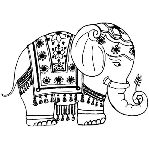 Thai Elephant Coloring Page | download elephant coloring pages for adults