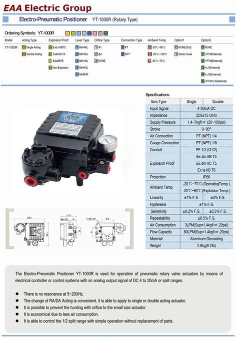 Electropneumatic Positioner china electropneumatic positioner ytc model yt1000l