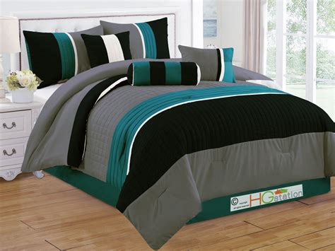 black striped comforter 7 p quilted square pleated striped comforter set king teal
