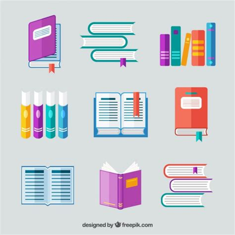 design icon book books collection in flat design vector free download