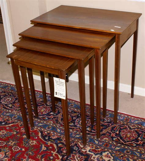 antique nesting tables with inlay set of 4 solid mahogany pencil inlaid nesting tables for