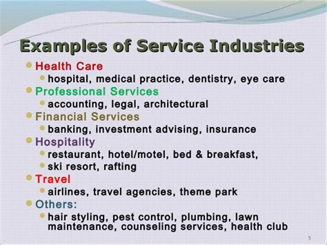 services industry exles images